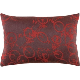 13 x 19 Crazed Cycling Steel Gray and Cranberry Red Decorative Throw Pillow - Down Filler