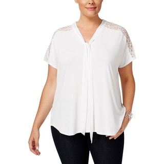 NY Collection Womens Plus Casual Top Tie Front Lace Trim