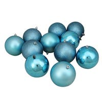 "12ct Turquoise Blue Shatterproof 4-Finish Christmas Ball Ornaments 4"" (100mm)"