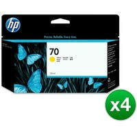 HP 70 130-ml Yellow DesignJet Ink Cartridge (C9454A) (4-Pack)