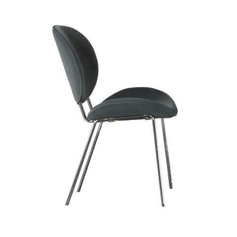 Retro Grey Upholstered Armless Side Chairs (Set of 2)