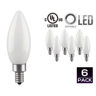 LED Dimmable Frosted Glass Filament Candelabra Bulb, 4.5W (60W Equiv.) C11 Decorative Milky Candle Bulb, UL-listed, 2700K