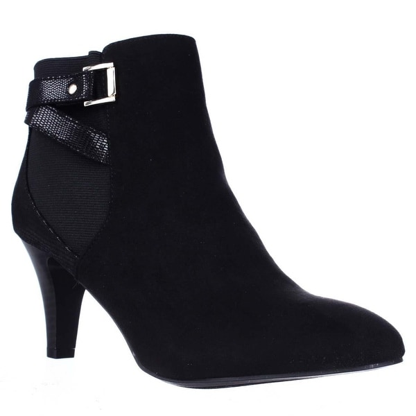 KS35 Majar Back Strapped Ankle Booties, Black