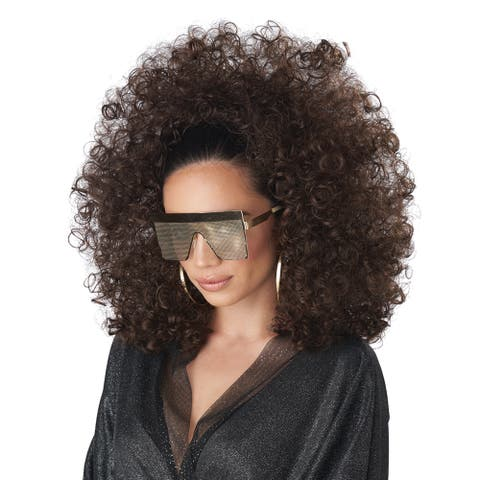 Adult 3/4 Curly Fall Brunette Disco Afro Wig - Standard - One Size