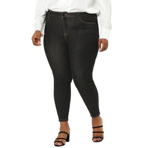 Women's Plus Size Jeans Denim Stretch Color Line Skinny Mid Rise Jeans - Black