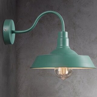 Vintage industrial gooseneck arm wall sconce with green finish