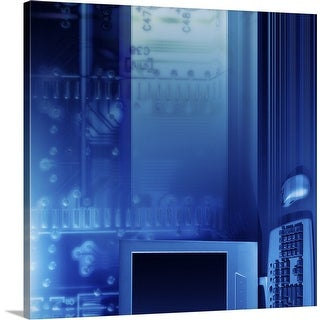 """""""Computer with blue circuit board"""" Canvas Wall Art"""