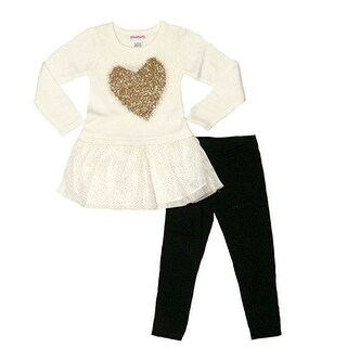 Flapdoodles Little Girls Ivory Gold Heart Applique 2 Pc Pant Outfit