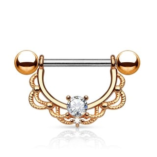 CZ Center Filigree Drop 14Kt. Gold Plated Surgical Steel Nipple Ring (Sold Ind.)
