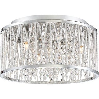"Platinum PCCC1614 Crystal Cove 4 Light 14"" Wide Flush Mount Ceiling Fixture with Clear Glass"