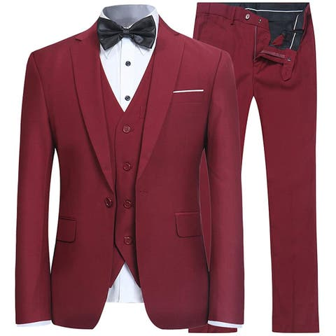 YFFUSHI Mens Red Size Large L Slim Fit One Button Three Piece Suit Set