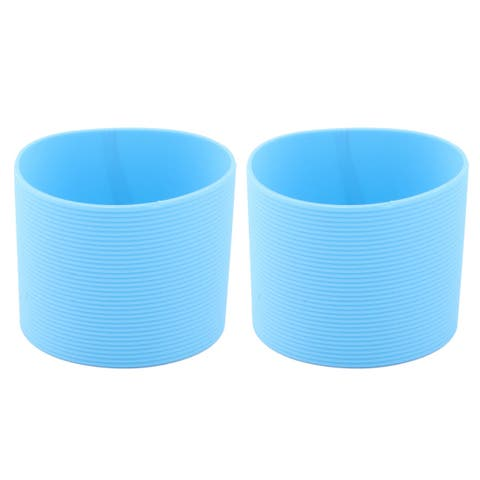 Home Silicone Heat Resistant Nonslip Reusable Bottle Cup Cover Sleeve Blue 2pcs