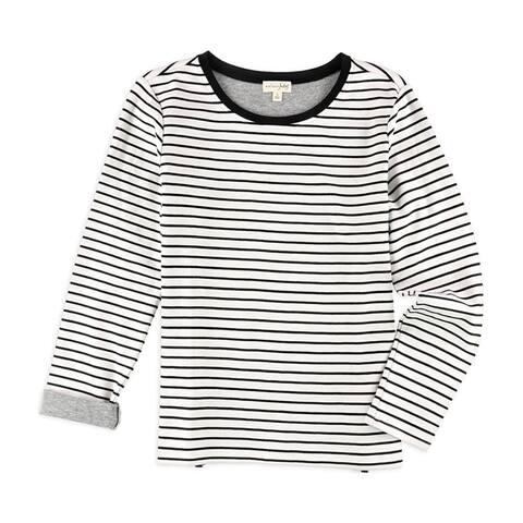 maison Jules Womens Stripes Embellished T-Shirt, White, X-Small