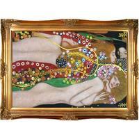 Water Serpents II by Gustav Klimt Metallic Embellished Framed Hand Painted Oil on Canvas