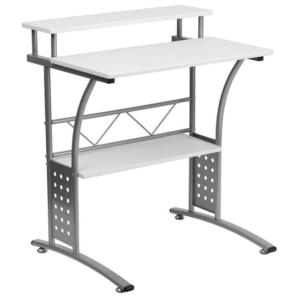 Clifton Modern White Home/Office Computer Desk w/3 Shelf
