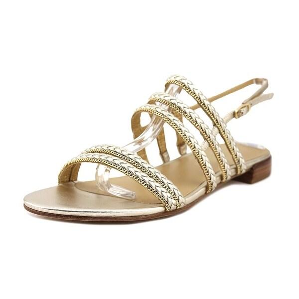 Stuart Weitzman Linedrive Women Open-Toe Leather Gold Slingback Sandal
