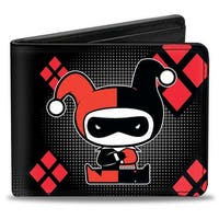 Chibi Harley Quinn Splits Dots Diamonds Black Gray Red Bi Fold Wallet - One Size Fits most