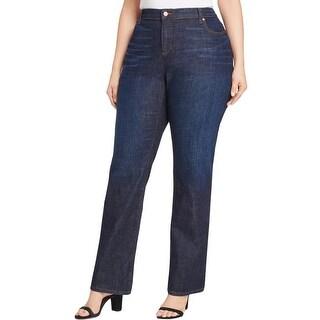 Eileen Fisher Womens Plus Jeans Bootcut Dark Wash