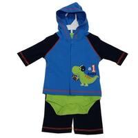 Bon Bebe Baby Boys Green Navy Dino Baseball Hooded Top Bodysuit 3 Pc Pant Set 3-9M