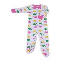 New Jammies Baby Girls Pink Printed Organic Cotton Footie Romper
