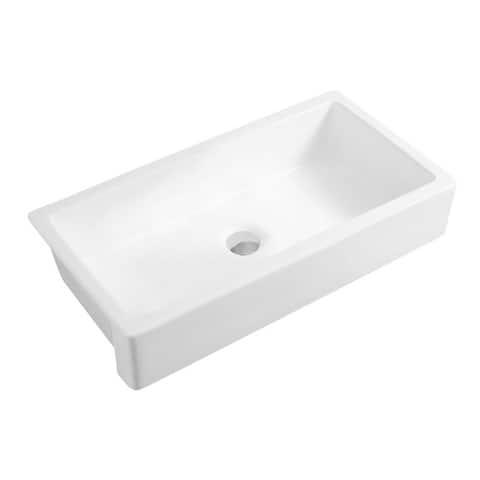 """37""""L x 19""""W Farmhouse/Apron Front White Kitchen Sink"""