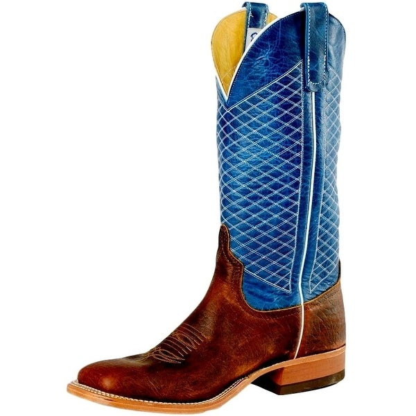 Anderson Bean Western Boots Men Mike Tyson Vamp Bison Brown Blue