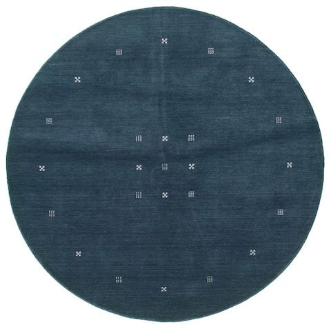 ECARPETGALLERY Hand-knotted Kashkuli Gabbeh Dark Navy Wool Rug - 6'0 x 6'0