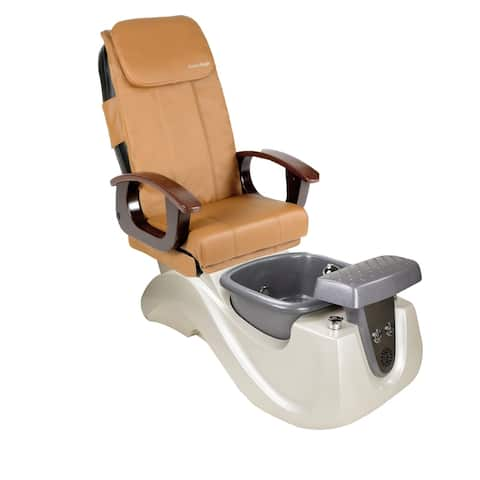 Pedicure Massage Chair SERENITY II White/Silver Tub, PI Full Function Massage Chair, Cappuccino Cover Set