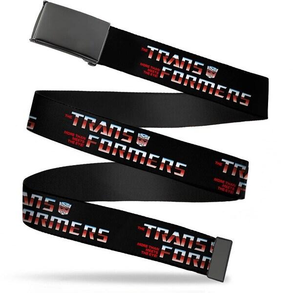 Blank Black Buckle Transformers Logo Black Blue Red Fade Webbing Web Belt