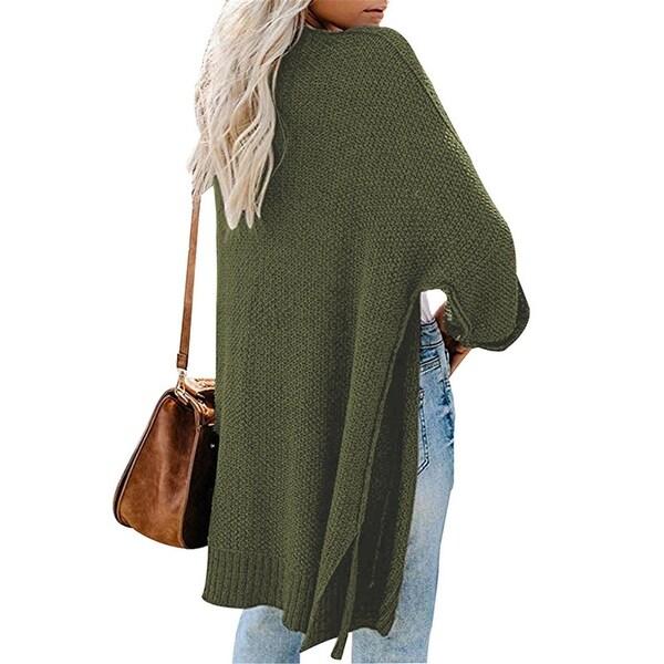 Women's Knit Long Split Roll Sleeve Cardigan Sweater. Opens flyout.