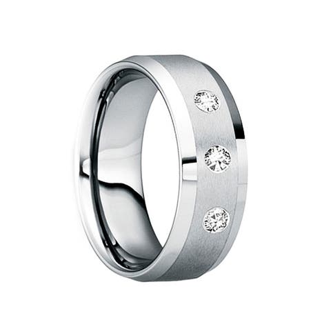 VARINIUS Triple White Diamond Tungsten Ring with Satin Finish and Beveled Edges by Crown Ring - 8mm
