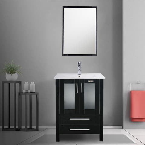 Black Bathroom Vanity with Wall Mounting Mirror and Mounting Hardware