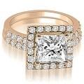 1.46 cttw. 14K Rose Gold Princess And Round Cut Halo Diamond Bridal Set - Thumbnail 0