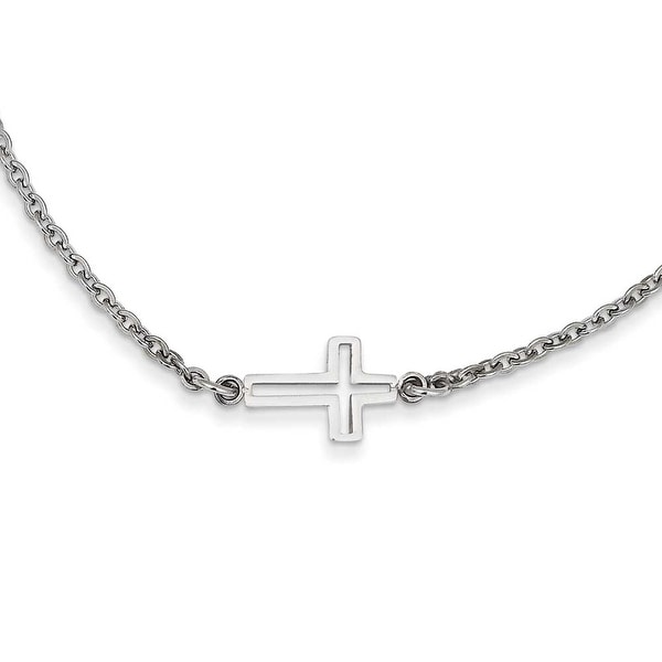Chisel Stainless Steel Polished Sideways Cross Necklace (2 mm) - 18 in