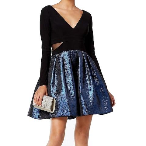 Xscape Black Blue Women's Size 12P Petite Shimmer A-Line Dress