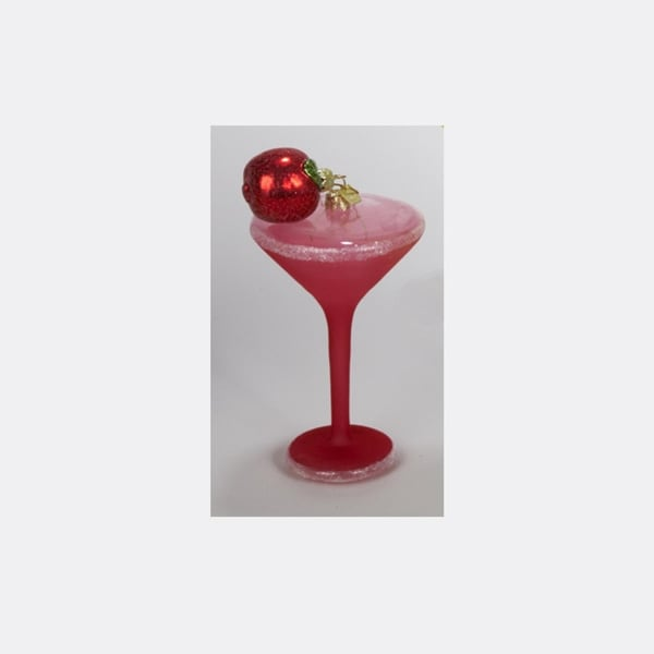 """6"""" Happy Hour Hand-Painted Apple Martini Cocktail Glass Christmas Ornament"""