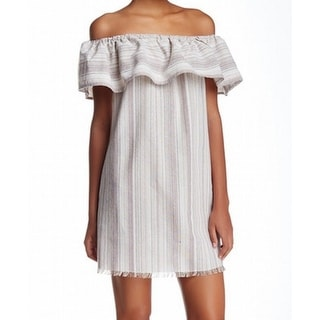 Loveriche NEW Beige Women's Size Large L Shift Off-Shoulder Striped Dress