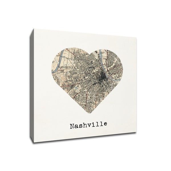Nashville - City Map to My Heart - 20x20 Gallery Wrapped Canvas Wall Art