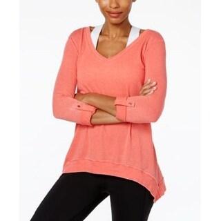Calvin Klein Women's Long-Sleeve Top Natural Sugar Size Extra Large - xL