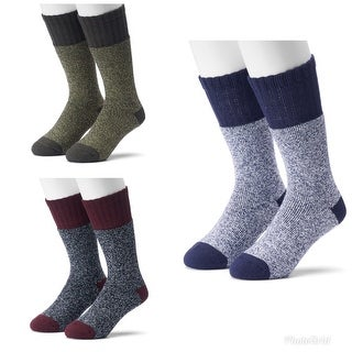 Croft & Barrow Men's 2-Pairs Acrylic Blend Marled Crew Boot Socks - 10-13