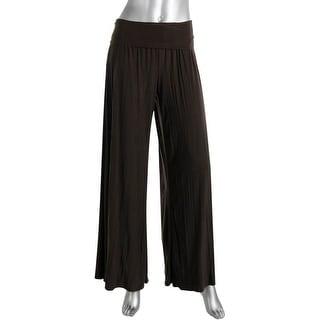 Nic + Zoe Womens Matte Jersey Flat Front Wide Leg Pants