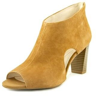 Alfani Womens Myelles Leather Peep Toe Ankle Fashion Boots