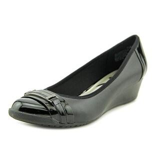 Anne Klein Sport Carvallo Women  Open Toe Synthetic Black Wedge Heel