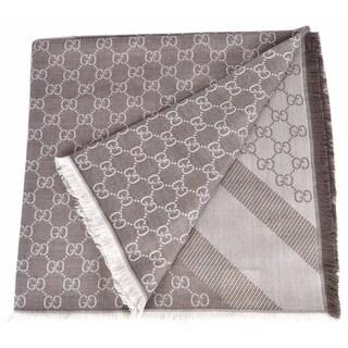 """Gucci 281942 XL Wool Taupe Cream GG Guccissima Logo Scarf Shawl Wrap - 53"""" x 53"""""""