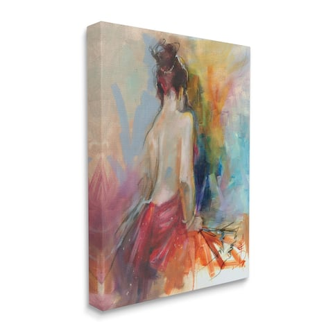 Stupell Industries Contemporary Female Pose Energetic Brush Strokes Canvas Wall Art - Multi-Color