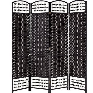 Costway 67'' Folding Woven Room Divider 4 Hinged Panel Privacy Screen Freestanding Black