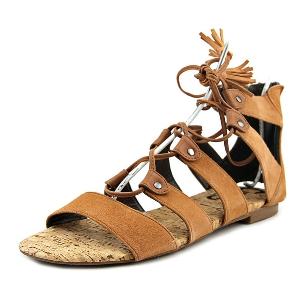 Circus by Sam Edelman Gibson Women Open Toe Leather Tan Gladiator Sandal