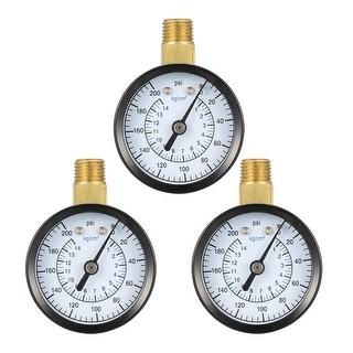 "Pressure Gauge , 0-200 PSI/0-14kg/cm2  , 1.8"" Dial Display , 1/4"" NPT Male 3pcs"