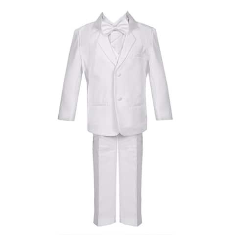 Little Boys White 5 Piece Classic Vest Jacket Pants Special Occasion Tuxedo Suit