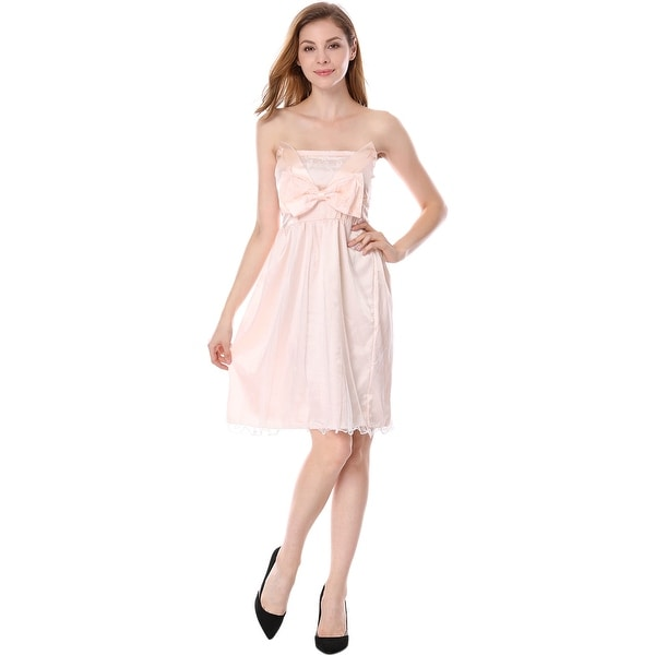 0518427c1d5c0 M Woman Pink Beige Tulle Overlay Bow Accent Strapless Dress